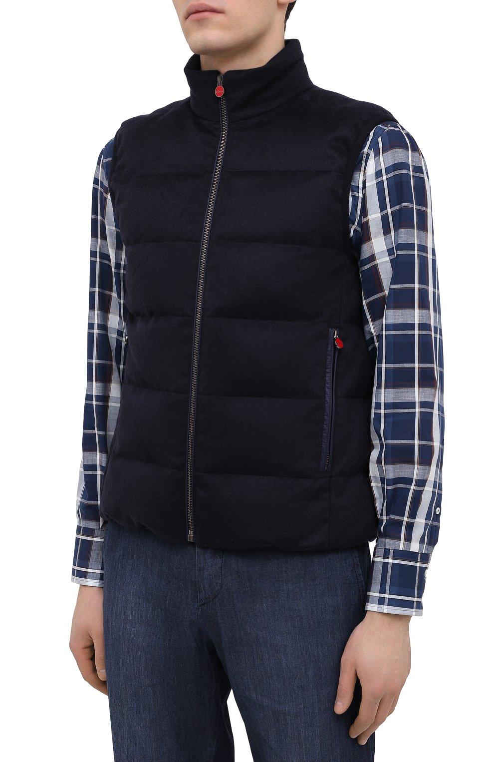 Мужской пуховый жилет KITON темно-синего цвета, арт. UW0949MK01140 | Фото 3