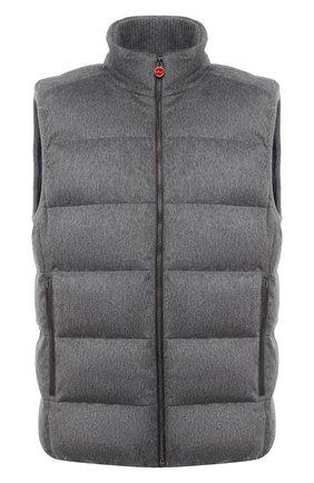 Мужской пуховый жилет KITON серого цвета, арт. UW0949MK01140   Фото 1