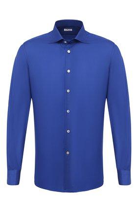 Мужская хлопковая рубашка KITON темно-синего цвета, арт. UCCH0770910 | Фото 1