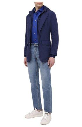 Мужская хлопковая рубашка KITON темно-синего цвета, арт. UCCH0770910 | Фото 2