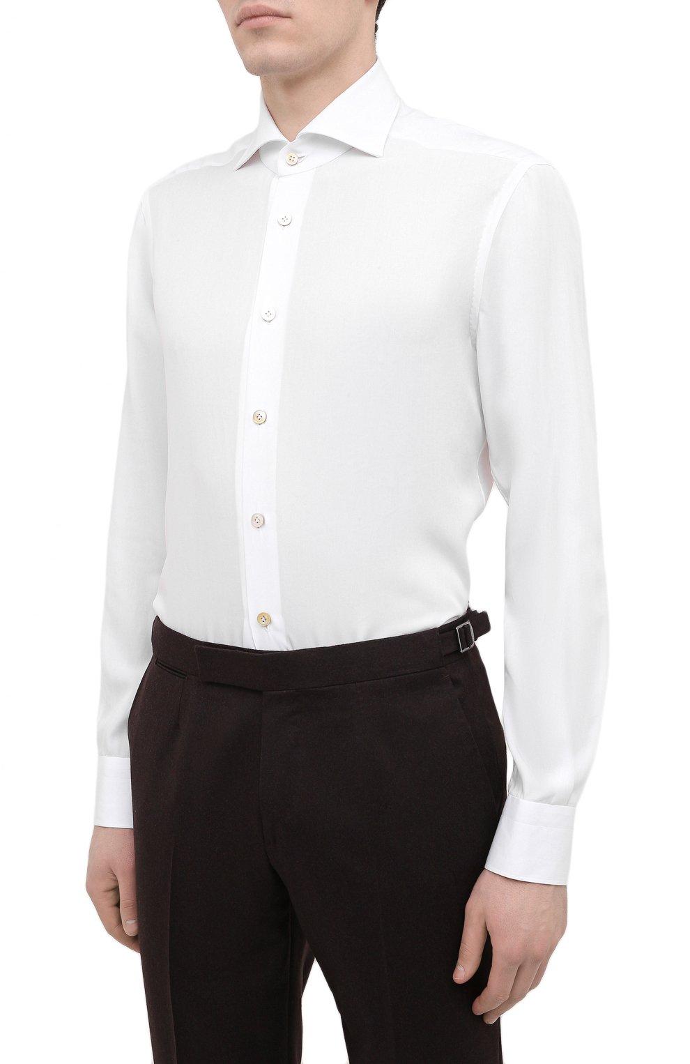 Мужская сорочка KITON белого цвета, арт. UCIH0761401 | Фото 3