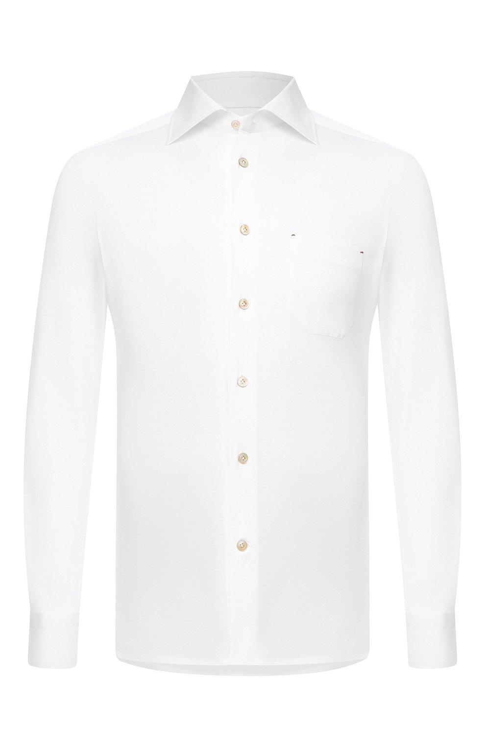 Мужская хлопковая рубашка KITON белого цвета, арт. UMCNERH0760901   Фото 1