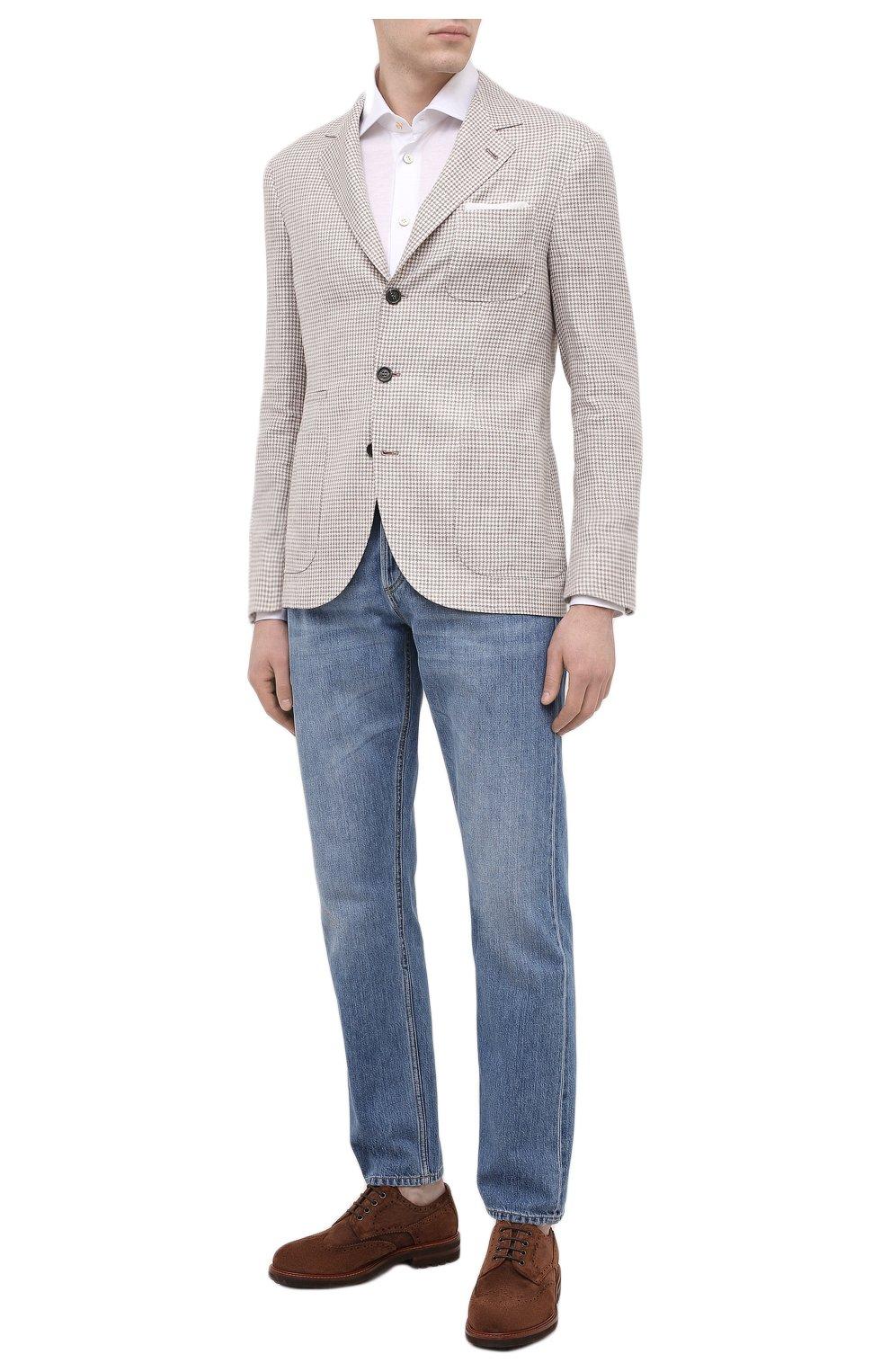 Мужская хлопковая рубашка KITON белого цвета, арт. UMCNERH0760901   Фото 2