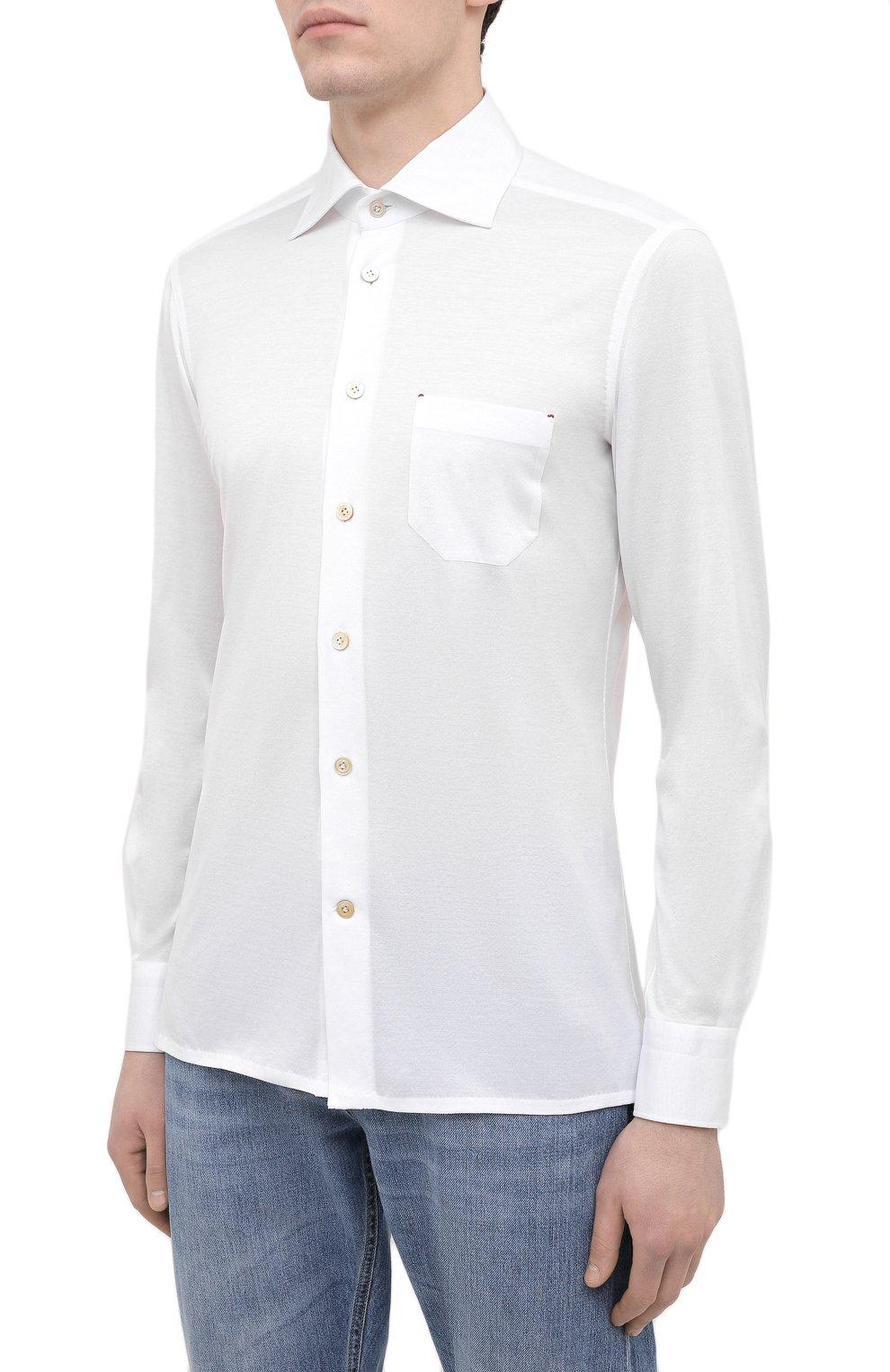 Мужская хлопковая рубашка KITON белого цвета, арт. UMCNERH0760901   Фото 3