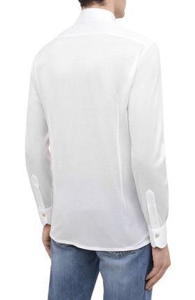 Мужская хлопковая рубашка KITON белого цвета, арт. UMCNERH0760901   Фото 4