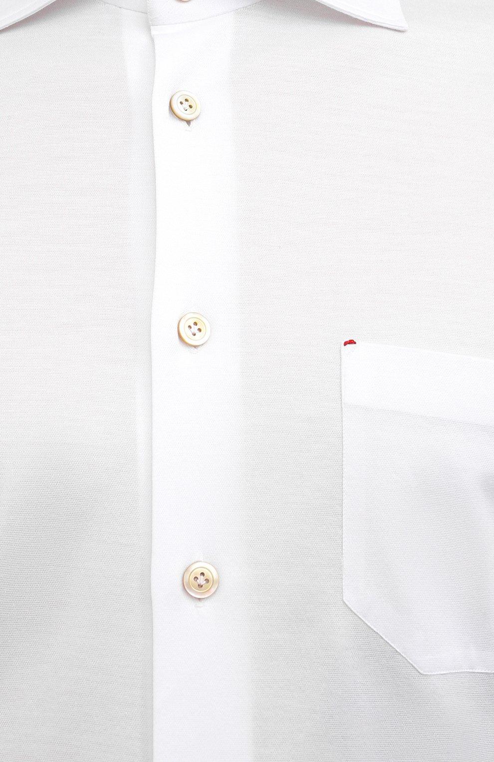 Мужская хлопковая рубашка KITON белого цвета, арт. UMCNERH0760901   Фото 5