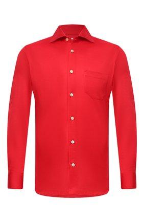 Мужская хлопковая рубашка KITON красного цвета, арт. UMCNERH0760912 | Фото 1