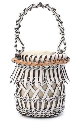 Женская сумка bucket fringes LOEWE белого цвета, арт. 326.05AC19 | Фото 1 (Материал: Натуральная кожа; Сумки-технические: Сумки через плечо, Сумки top-handle; Размер: mini; Ремень/цепочка: На ремешке)