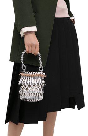 Женская сумка bucket fringes LOEWE белого цвета, арт. 326.05AC19 | Фото 2 (Материал: Натуральная кожа; Сумки-технические: Сумки через плечо, Сумки top-handle; Размер: mini; Ремень/цепочка: На ремешке)