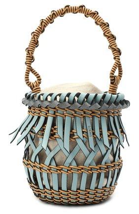 Женская сумка bucket fringes LOEWE голубого цвета, арт. A546C19X05 | Фото 1