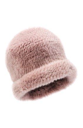 Женская шапка из меха норки KUSSENKOVV розового цвета, арт. 10150040202 | Фото 1