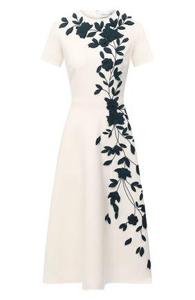 Женское шерстяное платье OSCAR DE LA RENTA белого цвета, арт. 20PE2722DSW | Фото 1