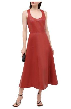 Женское кожаное платье OSCAR DE LA RENTA светло-коричневого цвета, арт. 20PN233LEA | Фото 2