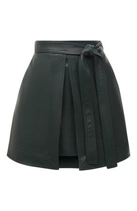 Женская кожаная юбка OSCAR DE LA RENTA зеленого цвета, арт. 20PN406LEA | Фото 1
