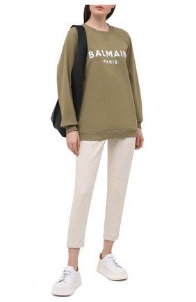 Женский хлопковый свитшот BALMAIN хаки цвета, арт. VF13691/B014 | Фото 2