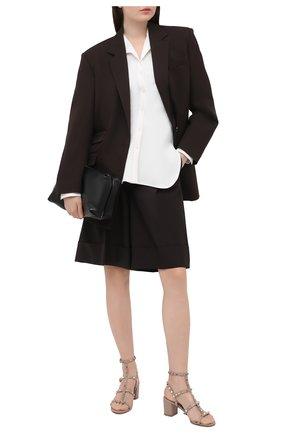 Женские кожаные босоножки rockstud VALENTINO бежевого цвета, арт. VW2S0491/VBP | Фото 2 (Подошва: Плоская; Каблук высота: Средний; Каблук тип: Устойчивый; Материал внутренний: Натуральная кожа)
