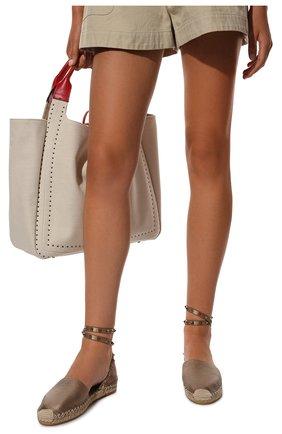 Женские кожаные эспадрильи rockstud double VALENTINO серебряного цвета, арт. VW2S0530/ZQG | Фото 2 (Подошва: Плоская; Каблук высота: Низкий; Материал внутренний: Натуральная кожа)
