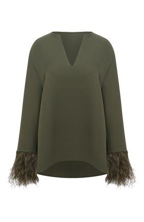 Женская шелковая блузка VALENTINO хаки цвета, арт. VB3AE5T11MM | Фото 1