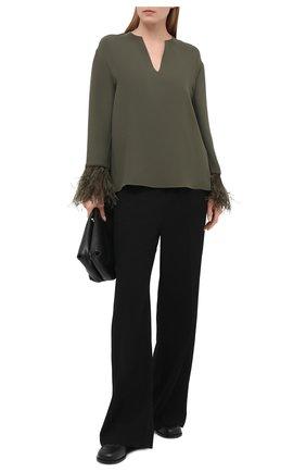 Женская шелковая блузка VALENTINO хаки цвета, арт. VB3AE5T11MM | Фото 2