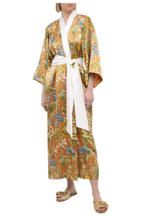 Женский шелковый халат OLIVIA VON HALLE желтого цвета, арт. PS2141 | Фото 2