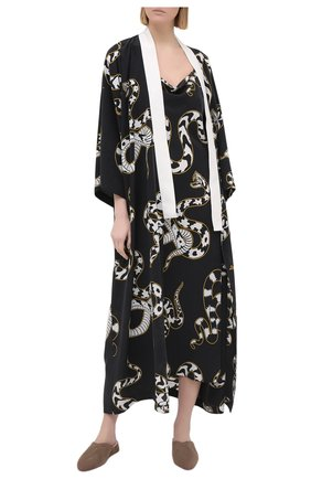 Женская шелковая сорочка OLIVIA VON HALLE черно-белого цвета, арт. PS2155 | Фото 2