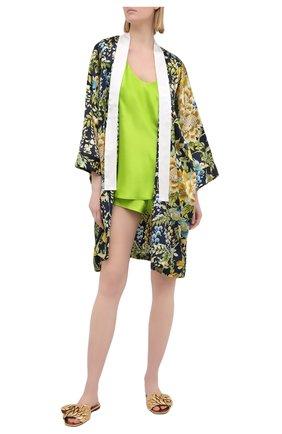 Женская шелковая пижама OLIVIA VON HALLE зеленого цвета, арт. SS2021 | Фото 1 (Материал внешний: Шелк; Длина Ж (юбки, платья, шорты): Мини; Длина (для топов): Стандартные)