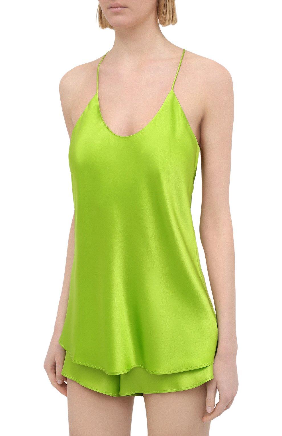 Женская шелковая пижама OLIVIA VON HALLE зеленого цвета, арт. SS2021 | Фото 2 (Материал внешний: Шелк; Длина Ж (юбки, платья, шорты): Мини; Длина (для топов): Стандартные)