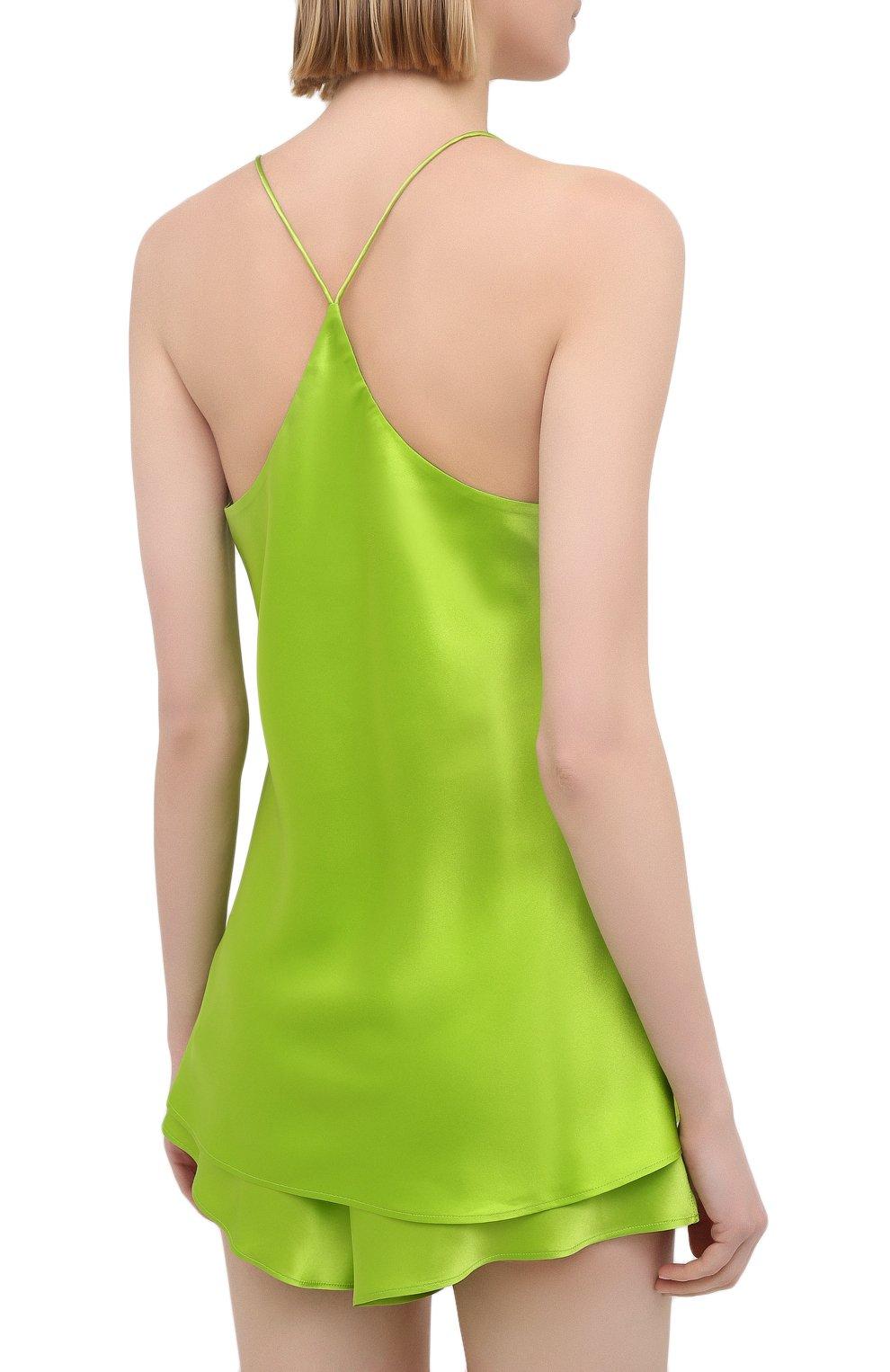 Женская шелковая пижама OLIVIA VON HALLE зеленого цвета, арт. SS2021 | Фото 3 (Материал внешний: Шелк; Длина Ж (юбки, платья, шорты): Мини; Длина (для топов): Стандартные)