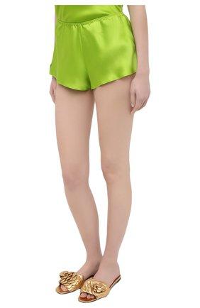 Женская шелковая пижама OLIVIA VON HALLE зеленого цвета, арт. SS2021 | Фото 4 (Материал внешний: Шелк; Длина Ж (юбки, платья, шорты): Мини; Длина (для топов): Стандартные)
