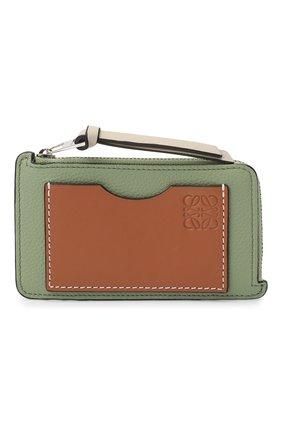 Женский кожаный футляр для кредитных карт LOEWE светло-зеленого цвета, арт. C660Z40X04   Фото 1