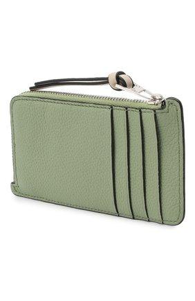 Женский кожаный футляр для кредитных карт LOEWE светло-зеленого цвета, арт. C660Z40X04   Фото 2