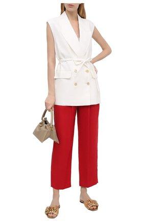 Женские льняные брюки BRUNELLO CUCINELLI красного цвета, арт. MH506P7647 | Фото 2