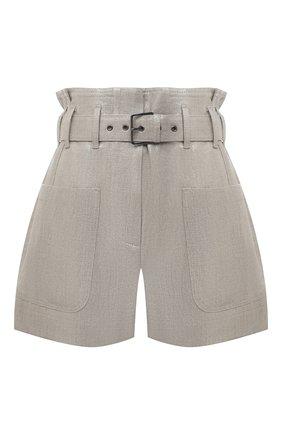 Женские льняные шорты BRUNELLO CUCINELLI серого цвета, арт. MH169P7585 | Фото 1