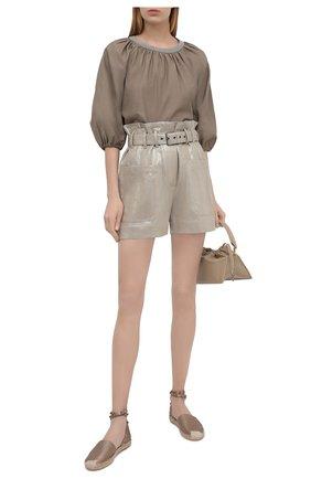 Женские льняные шорты BRUNELLO CUCINELLI серого цвета, арт. MH169P7585 | Фото 2