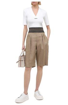 Женские шорты BRUNELLO CUCINELLI коричневого цвета, арт. MH135P7649 | Фото 2