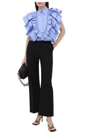 Женская хлопковая блузка BRUNELLO CUCINELLI голубого цвета, арт. MF799NJ705 | Фото 2