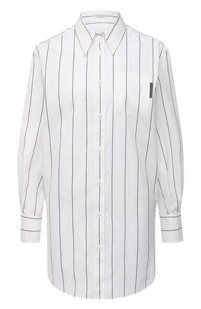Женская рубашка из хлопка и шелка BRUNELLO CUCINELLI белого цвета, арт. MF794MF146 | Фото 1