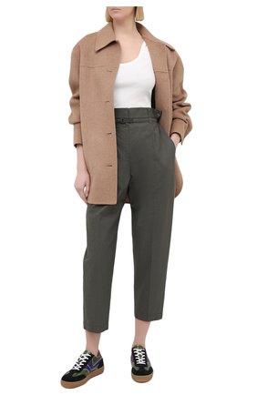 Женские хлопковые брюки BRUNELLO CUCINELLI хаки цвета, арт. M0F79P7461 | Фото 2