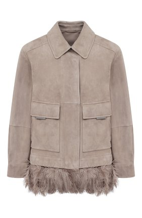 Женская замшевая куртка BRUNELLO CUCINELLI бежевого цвета, арт. MPCAI2982 | Фото 1