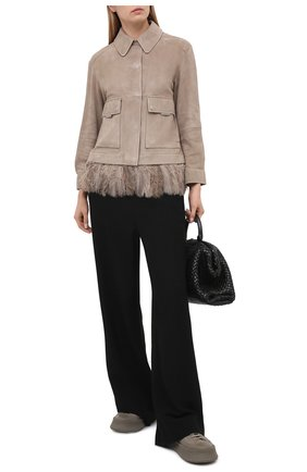 Женская замшевая куртка BRUNELLO CUCINELLI бежевого цвета, арт. MPCAI2982 | Фото 2