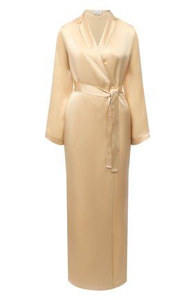 Женский шелковый халат LA PERLA бежевого цвета, арт. 0020293/LU | Фото 1