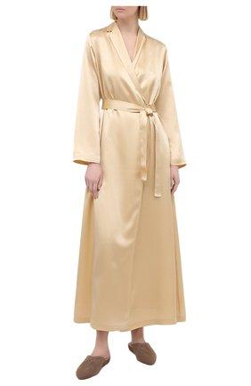 Женский шелковый халат LA PERLA бежевого цвета, арт. 0020293/LU | Фото 2