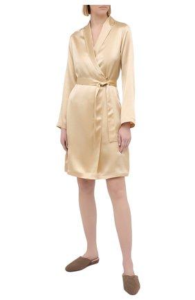 Женский шелковый халат LA PERLA бежевого цвета, арт. 0020293/C0 | Фото 2
