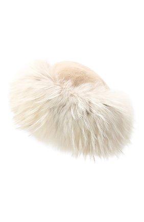 Женская шапка полина из меха енота и норки FURLAND бежевого цвета, арт. 0068111750006300000   Фото 2