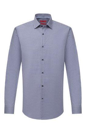 Мужская хлопковая сорочка HUGO темно-синего цвета, арт. 50443570 | Фото 1