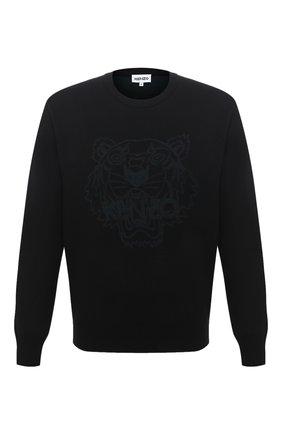 Мужской джемпер из шерсти и хлопка KENZO черного цвета, арт. FA65PU5303XA | Фото 1