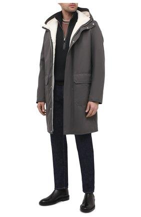 Мужская парка с меховой подкладкой ANDREA CAMPAGNA серого цвета, арт. 94502H90FA120 | Фото 2 (Стили: Кэжуэл; Материал утеплителя: Натуральный мех; Кросс-КТ: Куртка; Материал внешний: Синтетический материал; Рукава: Длинные; Длина (верхняя одежда): До колена)
