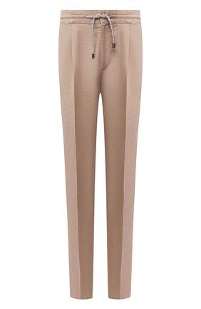 Мужские брюки изо льна и хлопка BRUNELLO CUCINELLI бежевого цвета, арт. M291LE1740 | Фото 1