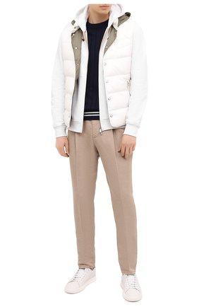 Мужские брюки изо льна и хлопка BRUNELLO CUCINELLI бежевого цвета, арт. M291LE1740 | Фото 2