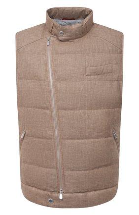 Мужской пуховый жилет BRUNELLO CUCINELLI светло-коричневого цвета, арт. MD4951283   Фото 1